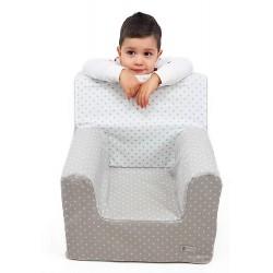 """Sillón o asiento infantil de espuma para bebés y niños """"Estrellas"""" gris"""