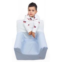 """Sillón o asiento Montessori de espuma para bebés y niños """"Estrellas"""" azul"""