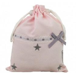 Bolsa de merienda estrellas rosa/gris