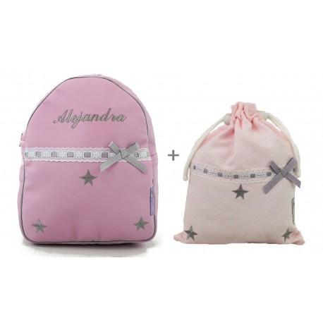 Conjunto modelos Estrellas rosa/gris