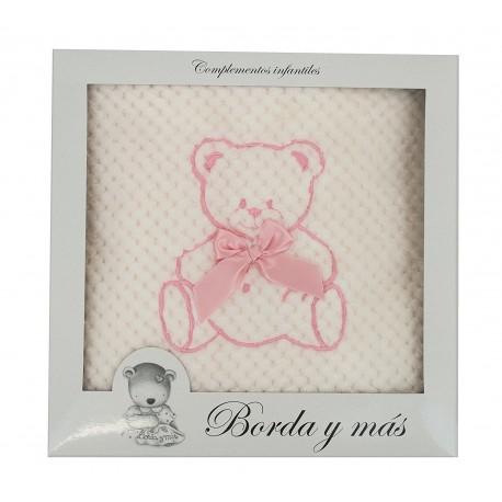 Manta bebé David rosa
