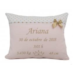 """Cojín nacimiento """"Ariana"""" varios colores disponibles"""