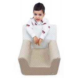 """Sillón o asiento Montessori de espuma para bebés y niños """"Estrellas"""" camel"""